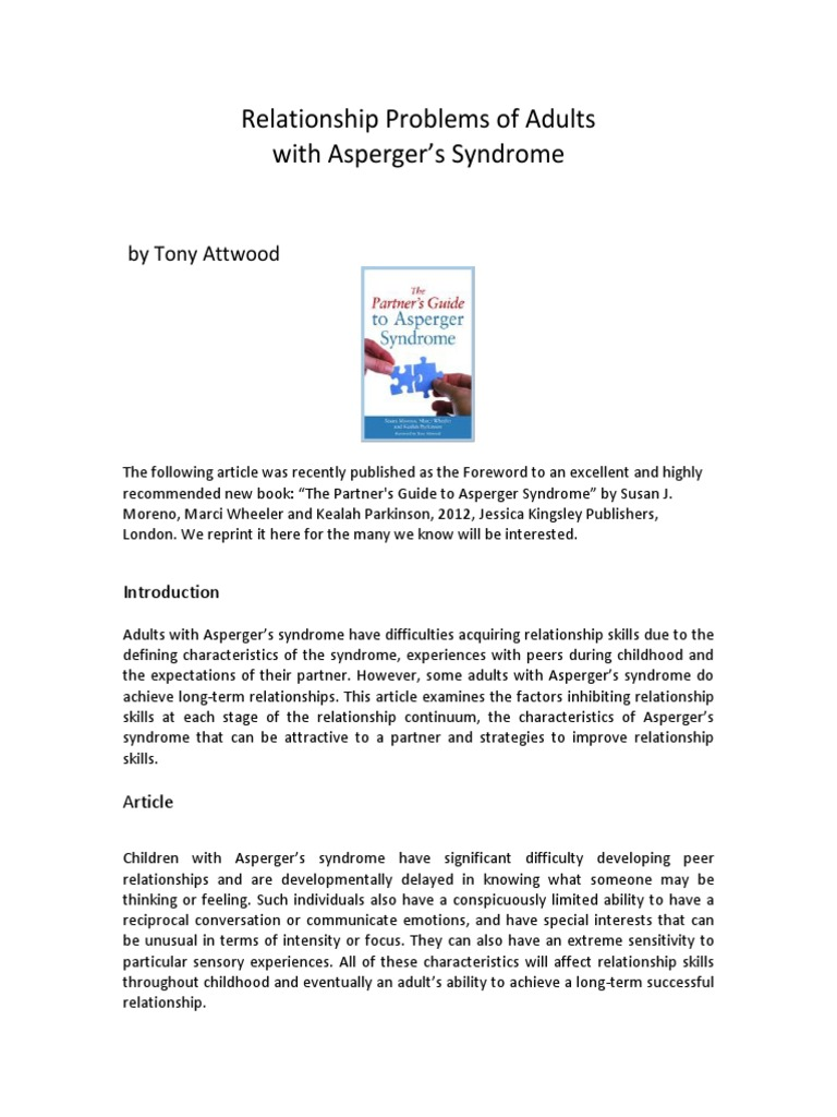 the relationship problems of adults with aspergers syndrome