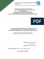 Manual de Procedimiento de Soldadura en Tubo de Cobre doméstico en el Taller de Mecanica en el IUTPC