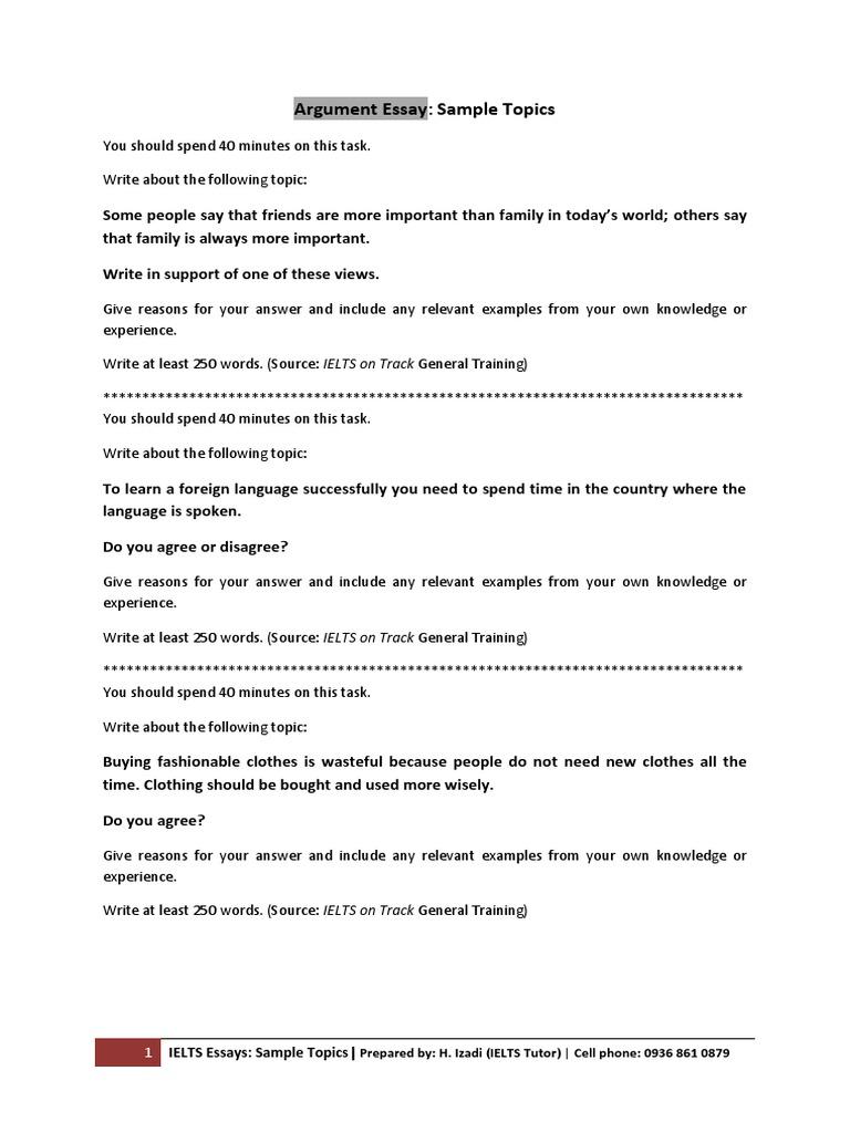 01 Argument Essay (Sample Topics)   Test (Assessment)   International  English Language Testing System