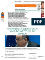 Chanceler celebra os 70 anos do Instituto Rio Branco | Brasil 24:7