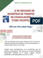 CAUSAS DE RECHAZO DE MUESTRAS DE TIEMPOS DE COAGULACIÓN  (TUBO CELESTE).