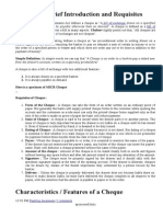 Cheque Brief Introduction and Requisites
