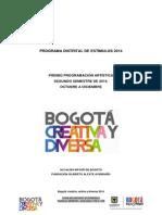 Cartilla. Premio Programacion Artistica Oct-dic de 2014 - Fuga