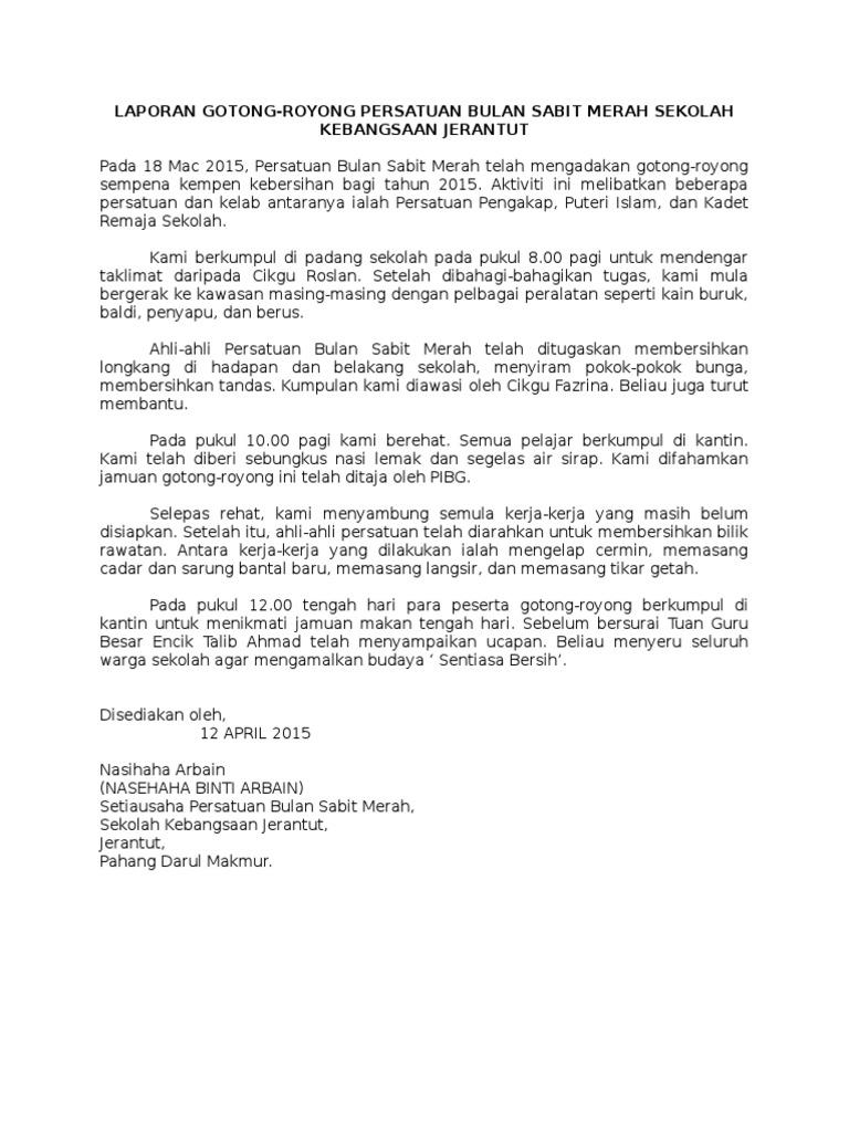 Contoh Karangan Laporan Gotong Royong