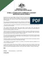 150518 MEDIA RELEASE Deborah O'Neill - O'Neill Stands With Community Against Improper Development