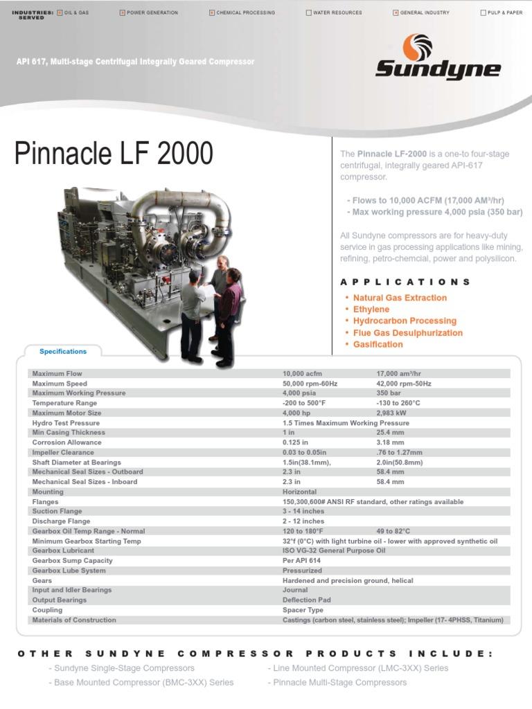 Sundyne Pinnacle Centrifugal Compressor Data Sheet | Gas