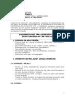 Protocolo elaborado para Relaciones Familia-Escuela tras sesiones trabajo