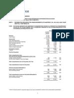 Pacific Radiance Ltd Financial Statements Annoucement 1QFY15