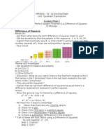 lesson plan - factoring a perfect square trinomial and a difference of squares