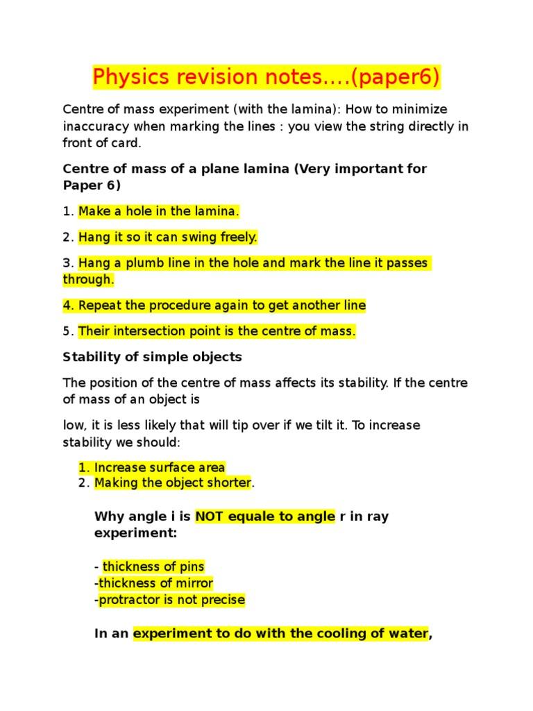 Physics Paper 6 Revision Notes | Pendulum | Resistor