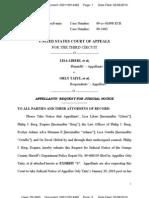LIBERI v TAITZ (APPEAL) - Appellants' Request for Judicial Notice Transport Room 4492