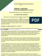 Notas sobre Verdad y Metodo de Hans-Georg Gadamer