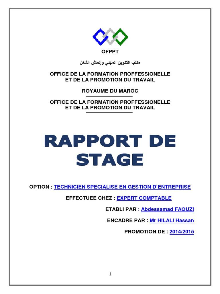 Rapport de stage chez un fiduciaire ofppt - Rapport de stage cabinet d expertise comptable ...