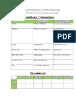 Questionnaire for Gateway4Jobs