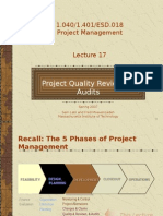 Lecture 17 Project Quality Reviews & Audits