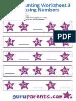 Preschool Math Counting on Missing Numbers Worksheet 3