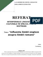 Referat Influienta limbii engleze asupra limbii romane
