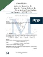 Solucoes de Questoes de Vestibular Matematica Cefet v1 0