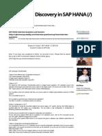 SAP HANA Interview Questions and Answers - Raj Kumar Discovery in SAP HANA