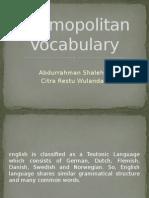 A History of the English Language Task I, Cosmopolitan Vocabulary