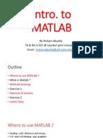 Intro to Matlab