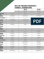 Calendário de Provas Mensais - Noturno