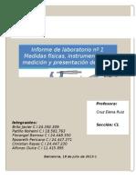 Informe de Laboratorio Nº 1 Medidas Físicas, Instrumentos de Medición y Presentación de Datos
