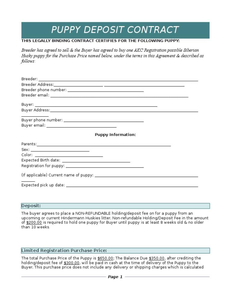 puppy deposit agreement | Cheque | Fee