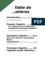 Table de Matières