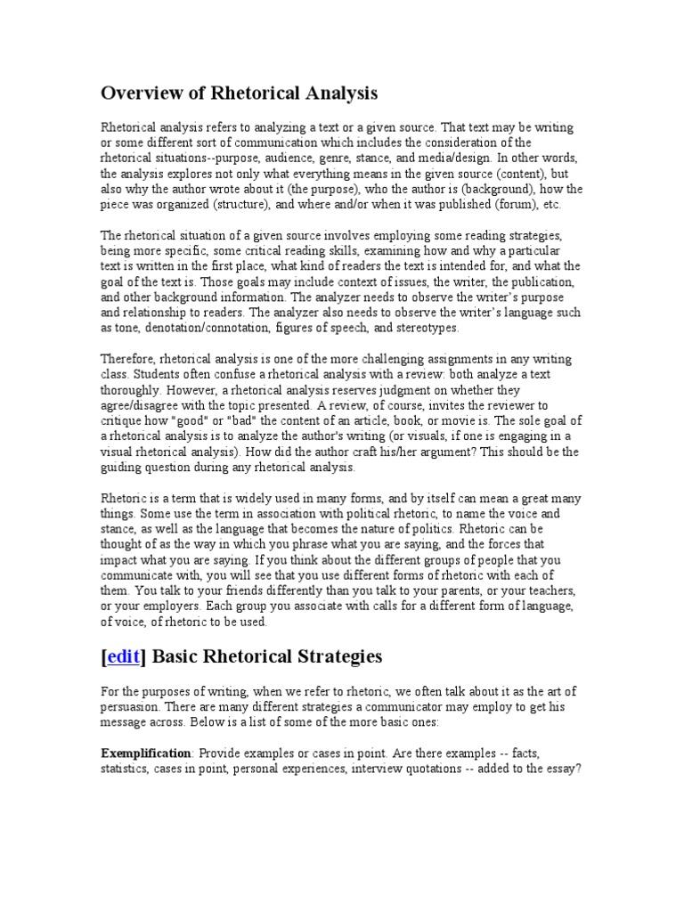 rhetorical strategies list