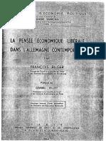 François Bilger. La pensée économique libérale dans l´Allemangne contemporaine