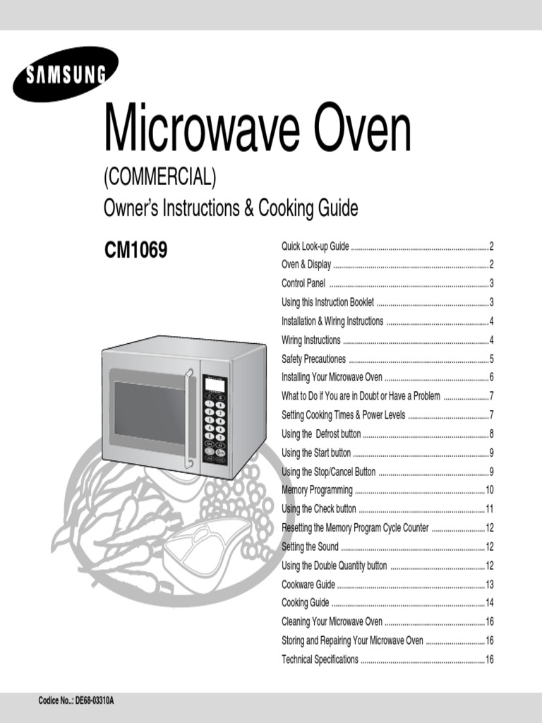 Samsung Cm1069 User Manual Ac Power Plugs And Sockets Mains Microwave Wiring Schematic Electricity