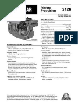 Spec Sheets - Cat 3126 Propulsion   Turbocharger   Engines