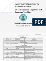 The Islamia University of Bahaalpur 1st International Conference on Linguistics & Language Teaching Program Book