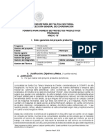 Anexo B Formato para Ingreso de Proyectos Productivos