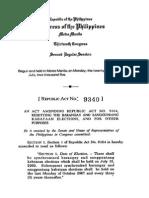 RA 9340- Barangay and Sanggunian Election