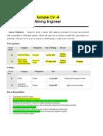 Mining Engineer Recruitment India CV 4