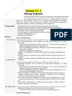 Mining Engineer Recruitment Sample CV
