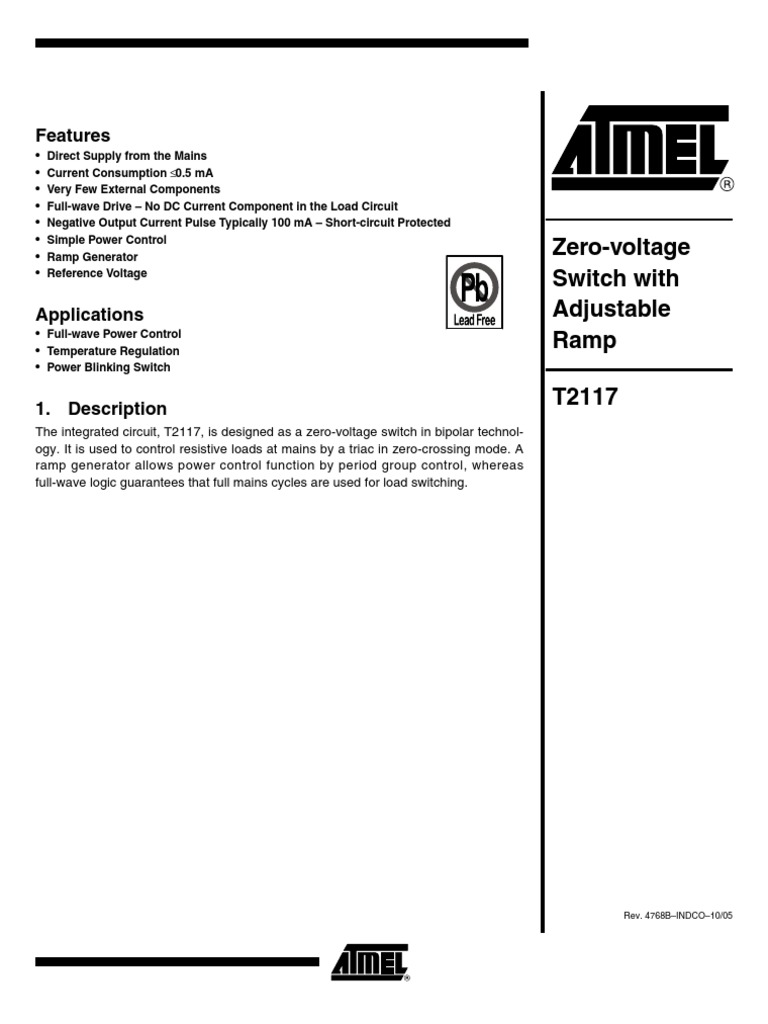 Datasheet T2117 Computer Engineering Electronics Dc Control For Triacs