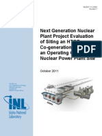 Evaluation of Siting an HTGR Co-generation Plant on an Operating Commercial Nuclear Power Plant Site
