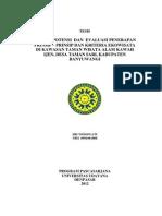Kajian Potensi Dan Evaluasi Penerapan Prinsip–Prinsip Dan Kriteria Ekowisata Di Kawasan Taman