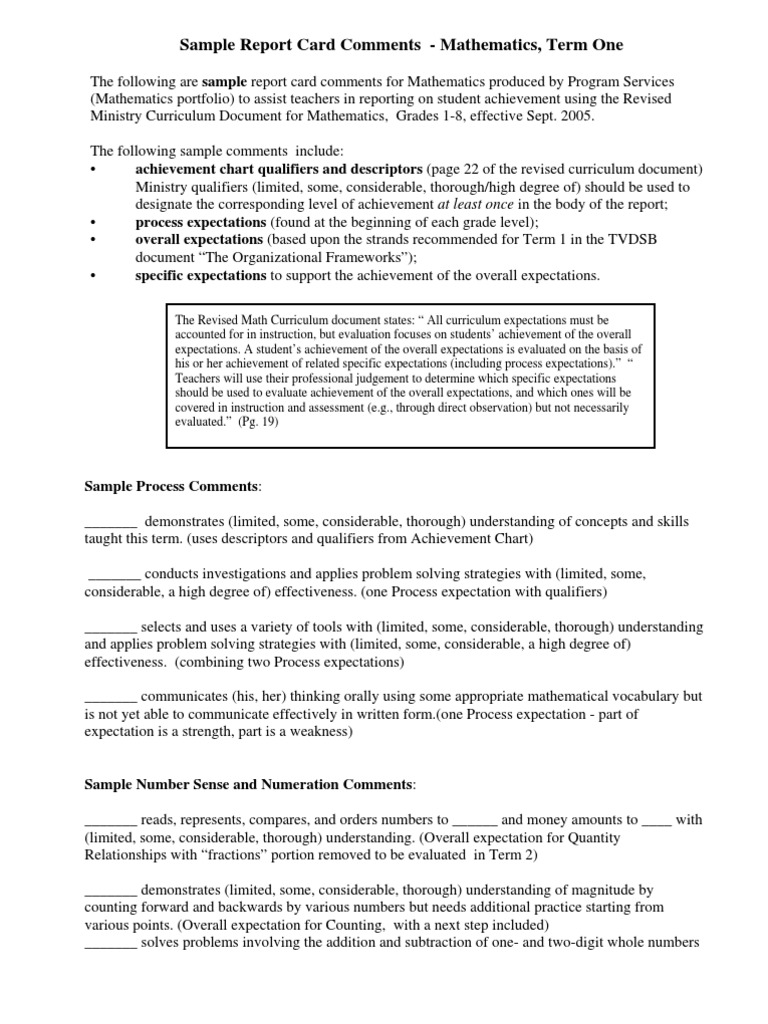 Sample Report Card Comments Expected Value – Sample Report Cards