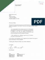 Lettre de la ministre Lise Thériault adressée à la Ville de Chambly