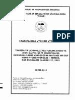 Taarifa Kwa Vyombo Vya Habari