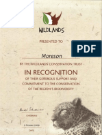 Môreson and the Wildlands Conservation Trust
