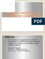 Formula Writing and Naming of Compounds
