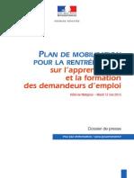 Plan de Mobilisation Pour La Rentrée 2015 Sur l'Apprentissage Et La Formation Des Demandeurs d'Emploi