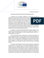 European Parliament Letter to the Heads of State and Government of the European Union Before the EaP Summit in Riga