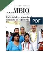 19-05-2015 Diario Matutino Cambio de Puebla - RMV Fortalece Infraestructura Educativa en Huehuetla