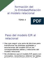 4.1 Transformacion Del Modelo E-R Al Modelo Relacional